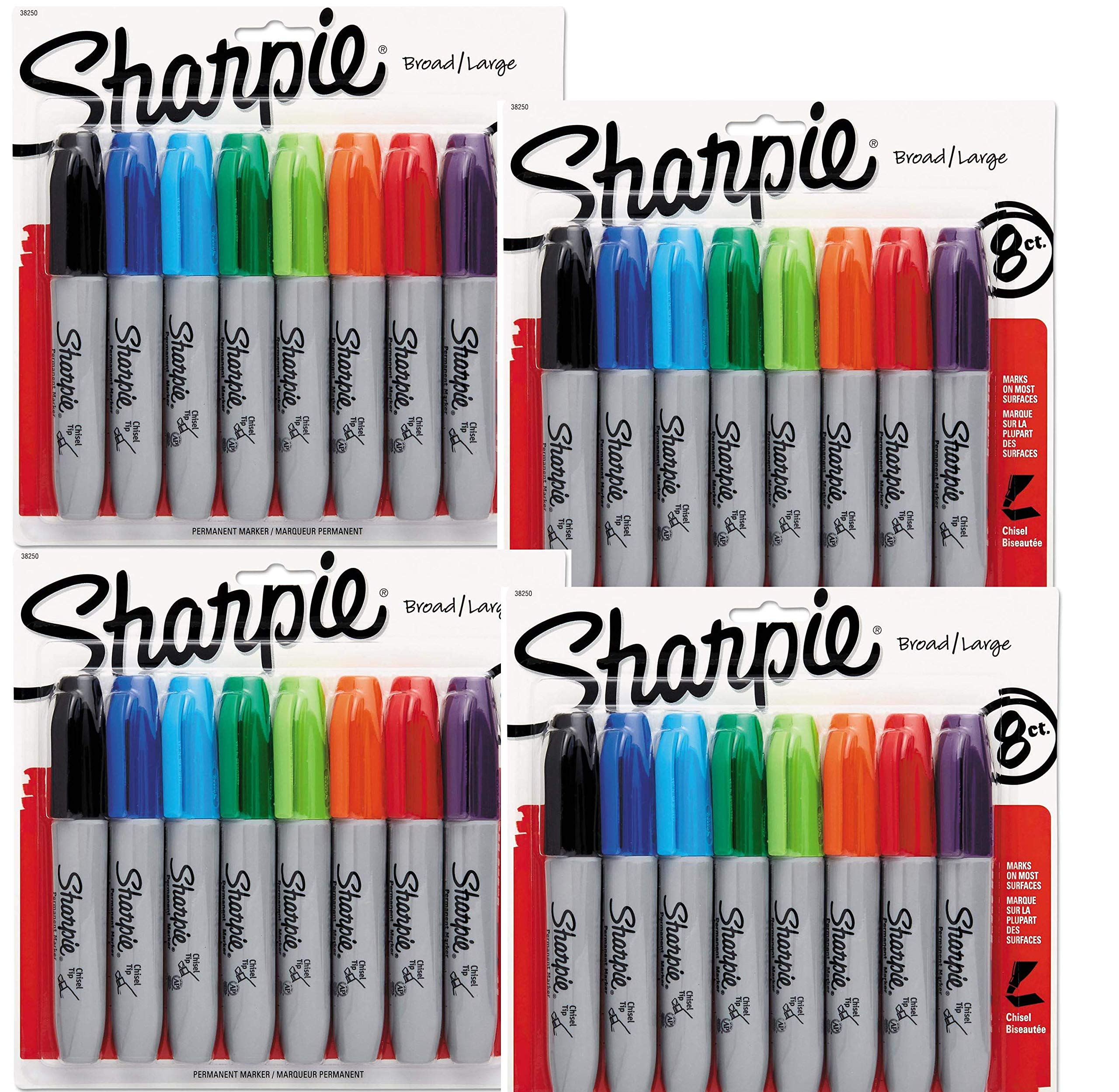 Sharpie Permanent Markers, Chisel Tip, Assorted Colors, 8-Count (38250PP) - 4 Packs, 32 Markers in Total - Black, Blue, Turquoise, Green, Lime, Orange, Red, and Purple by Sharpie