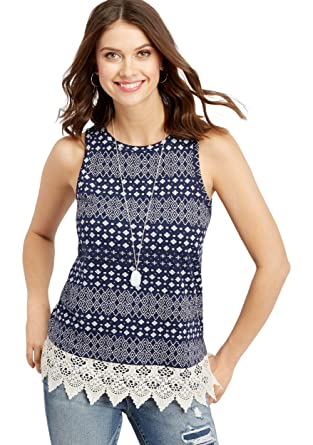 47f0f1e1d89 maurices Women s Patterned Lace Up Back Tank Small Blue Jasmine Combo