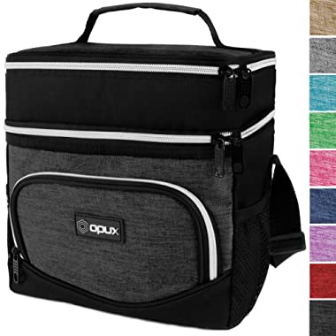 OPUX Insulated Dual Compartment Lunch Bag for Men, Women   Double Deck Reusable Lunch Tote Cooler Bag with Shoulder Strap, Soft Leakproof Liner   Medium Lunch Box for Work, Office (Charcoal)