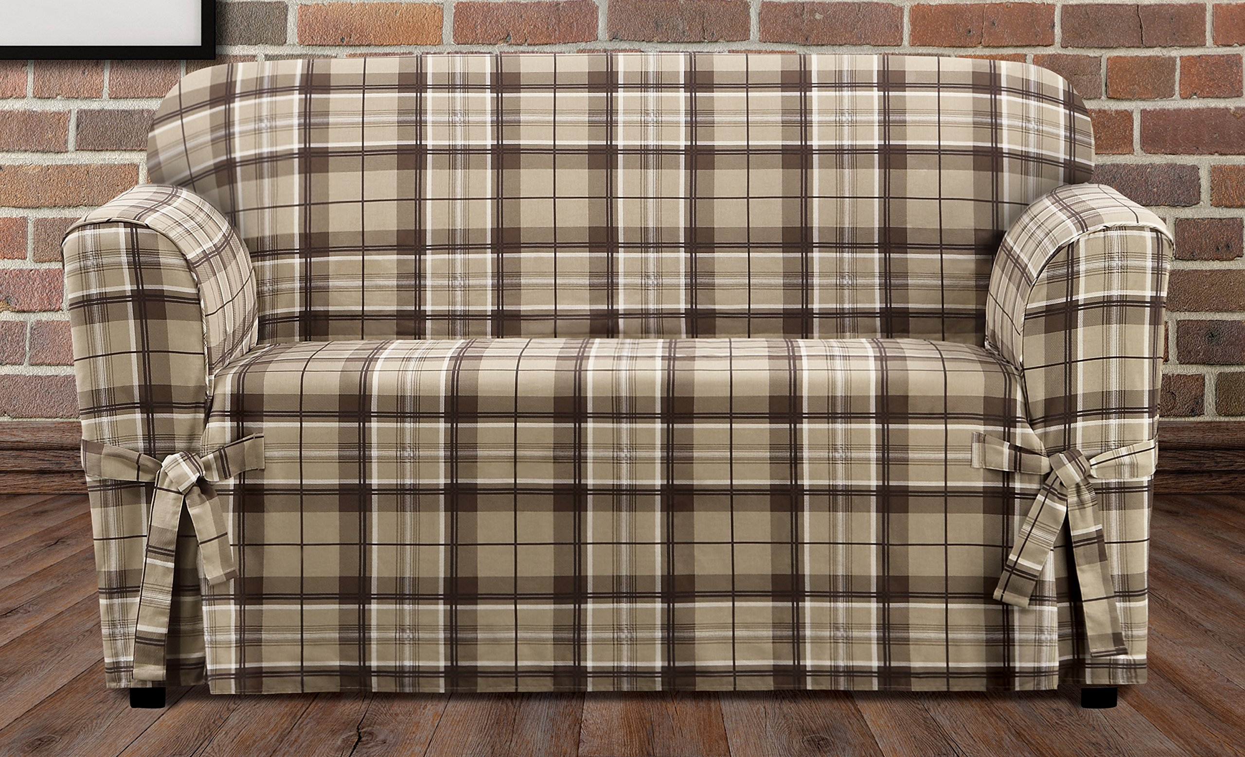Sure Fit SF46426 Highland Plaid 1 Piece Loveseat Slipcover, Tan by Surefit