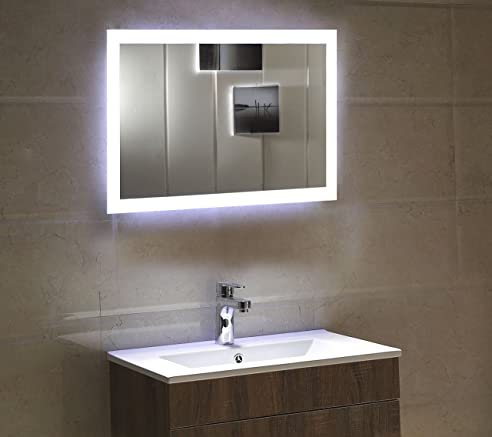 Schön Dr. Fleischmann Badspiegel LED Spiegel GS084N Mit Beleuchtung Durch  Satinierte Lichtflächen Badezimmerspiegel (80 X