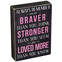 Kelli's Shop Braver Always Remember Box Sign-7 x 5 Inches, Multicolor