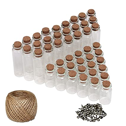 50 Pcs Mini Botellas de Vidrio - pequeño Mini botellas de cristal tarros de botella con