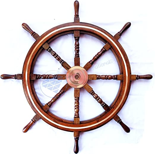 "Nautical 36/"" Wooden Ship Wheel Steering Brass Ring Wall Antique Vintage Decor"