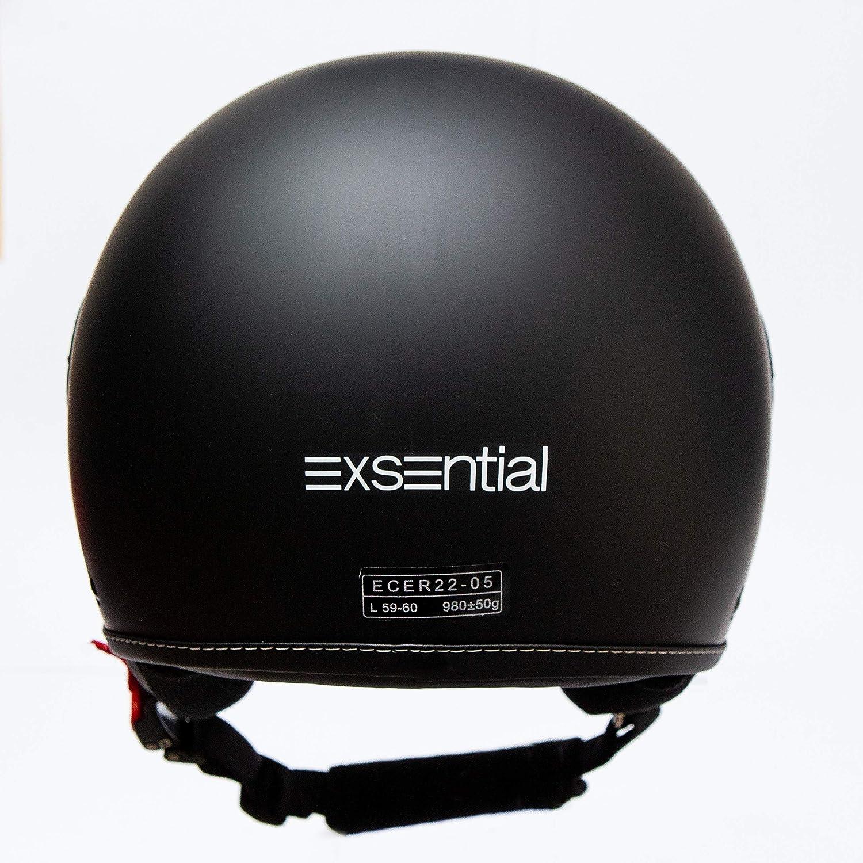taille L. Exsential EX 730 VL Casque demi-jet noir mat pour scooter et moto