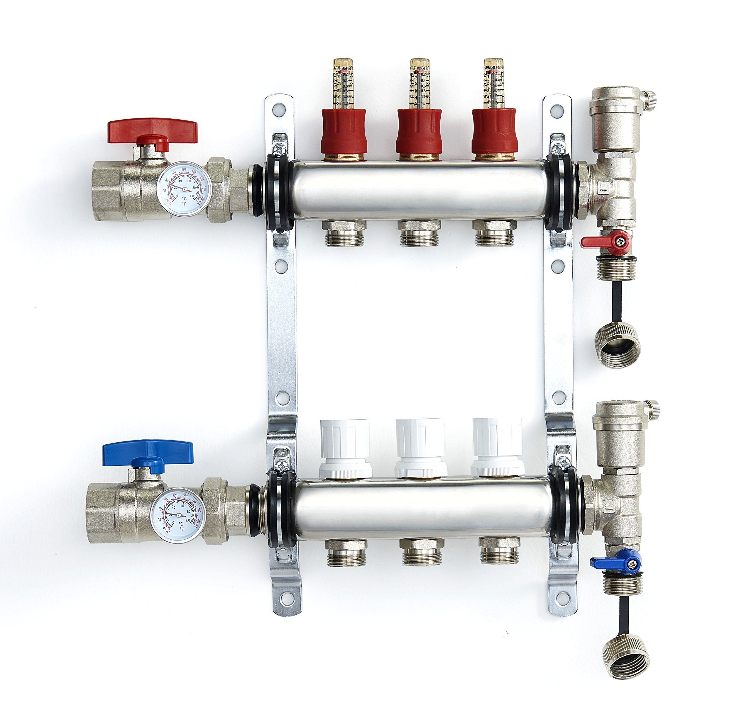 3 Loop 1/2-Inch PEX Manifold Stainless Steel Radiant Floor Heating Set Adjustable Flow Valves Automatic Air Vent 1/2'' Flexible Tubing Heated Hydronic System 3-Branch/Loops Manifolds Hot Cold