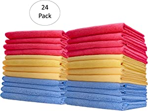 Superio Microfiber Cleaning Cloth 16x16 Inch (24 Pack) Red-Blue-Yellow, Miracle Cloths Ultra Micro Fiber, All Purpose Wash Cloths, Home Auto Car Wash Industrial and Commercial