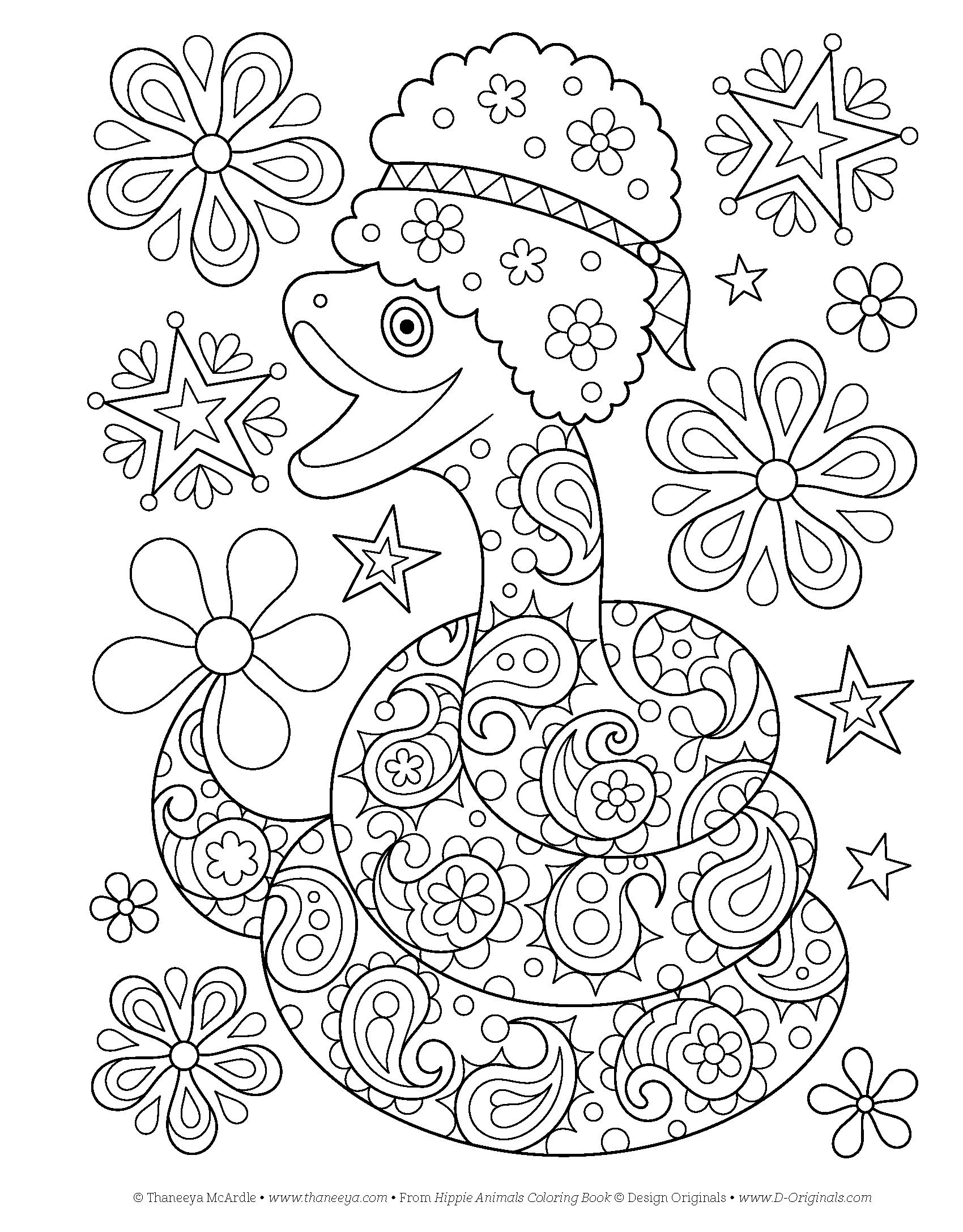 Hippie Animals Coloring Book Coloring Is Fun Amazon
