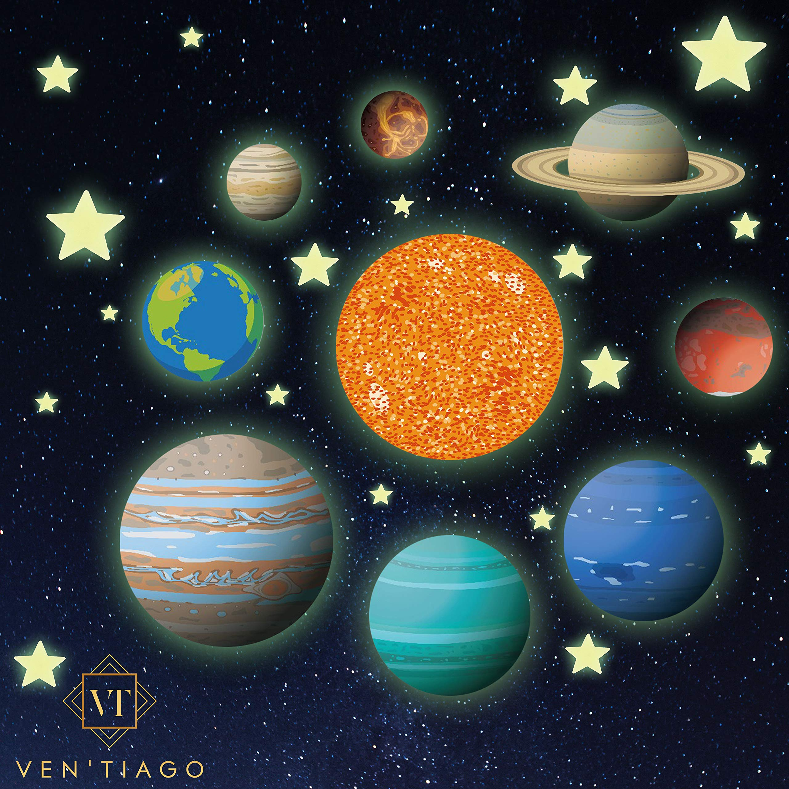 Ven'Tiago Glow in The Dark Planets and Stars, 9 Bright Solar System Planets and Sun, Light up The Night with Our Glowing Ceiling Sticker Decals, for Boys and Girls Bedroom & Living Room by Ven'Tiago