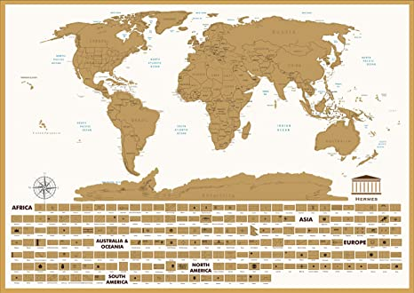 Amazon Com White Scratch Off World Map Travel Tracker Toys Games