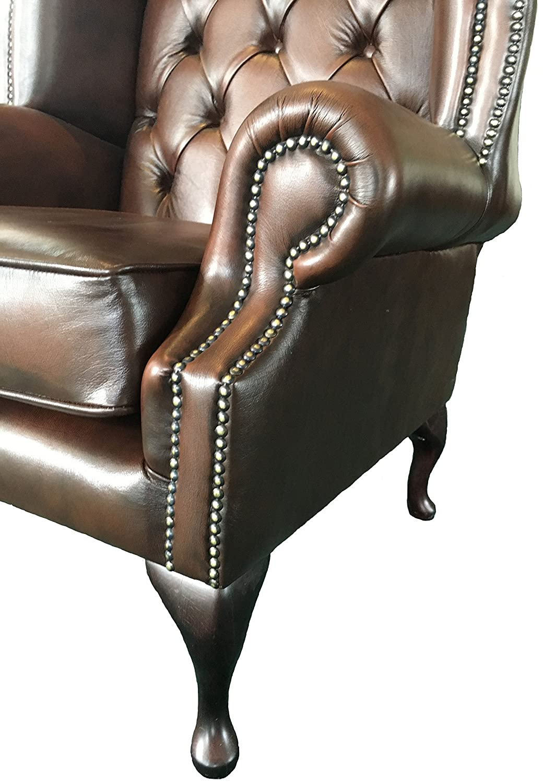 antique brown genuine leather queen anne armchair amazoncouk kitchen u0026 home