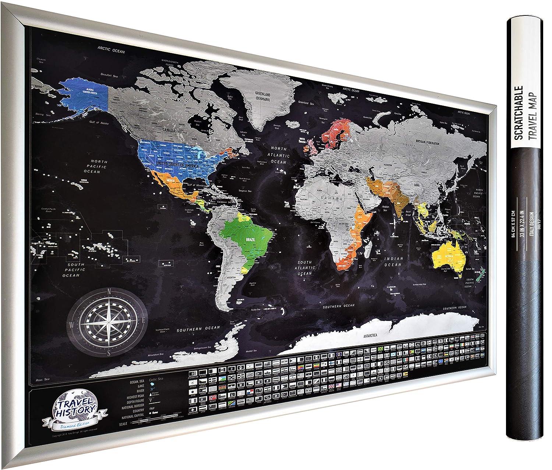 NEW Mappa Del Mondo Personalizzata, Multicolor, 84x54x0.2 cm. Mappa Con 196 Paese Bandiere, 732 Città, 76 Profondità Dei Mari, 13 Picchi Di Montagna. 2Maps