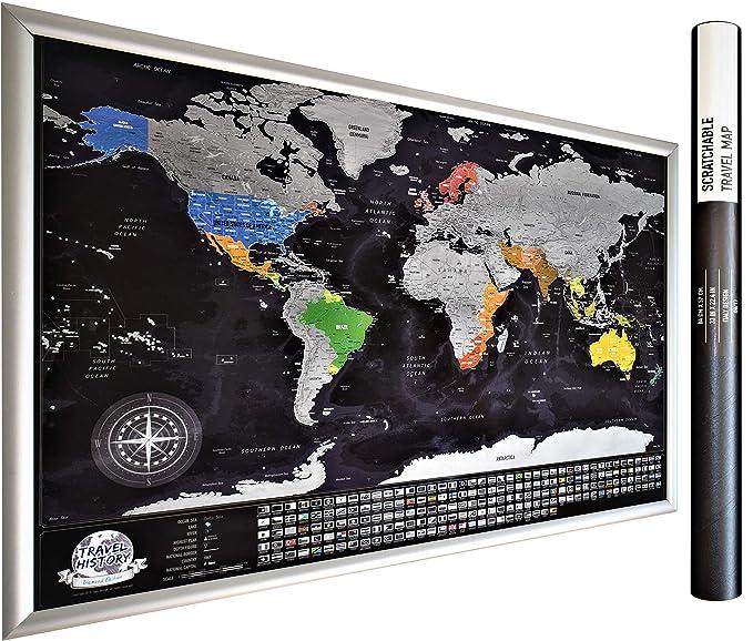 21 opinioni per XXL personale gratta Mappa viaggio con bandiere, Multicolor, 84x54x0.2 cm. Mappa