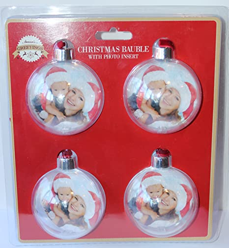 4 Pack Of Make Your Own Christmas Baubles With Photo Insert Amazon