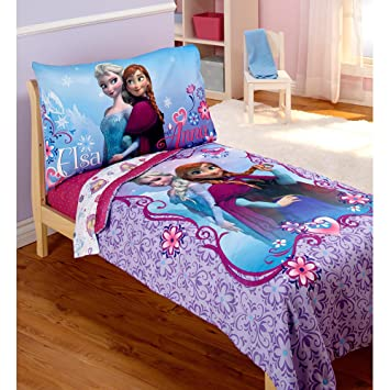 Amazon.com : Disney Frozen Elsa & Anna 4 Piece Toddler Bedding Set ...