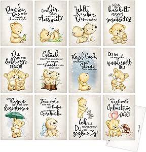 Juego de 12 tarjetas postales. 12 diferentes frases sobre el tema amor, amistad, tú eres toll, gracias, que te haya. 12 diseños diferentes con frase a juego.: Amazon.es: Oficina y papelería