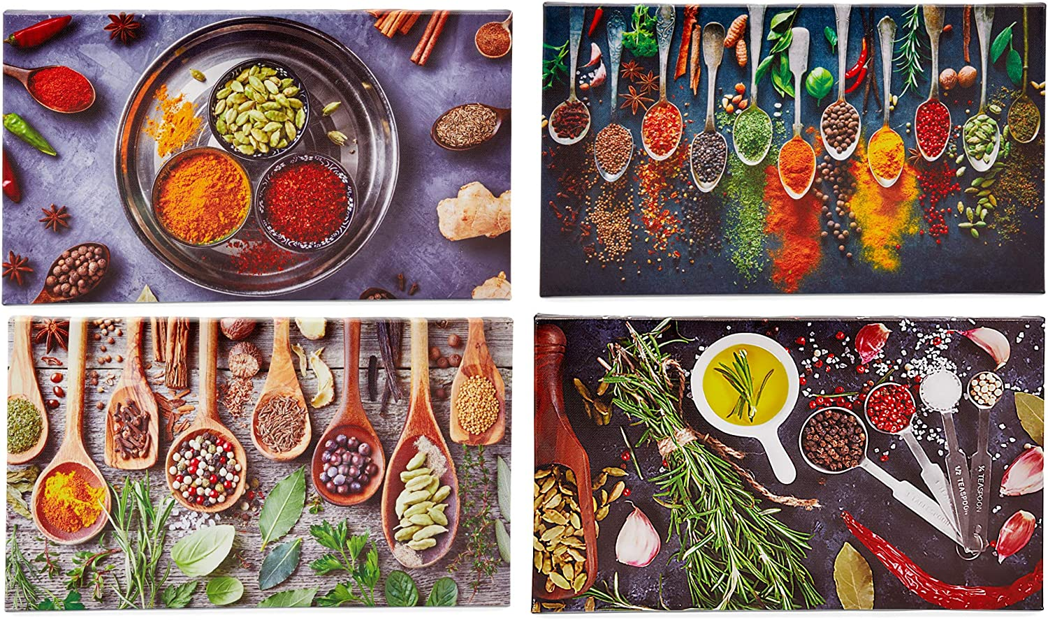 Spices Canvas Wall Art Set, Modern Kitchen Decor (14 x 8 Inches, 4 Pack)