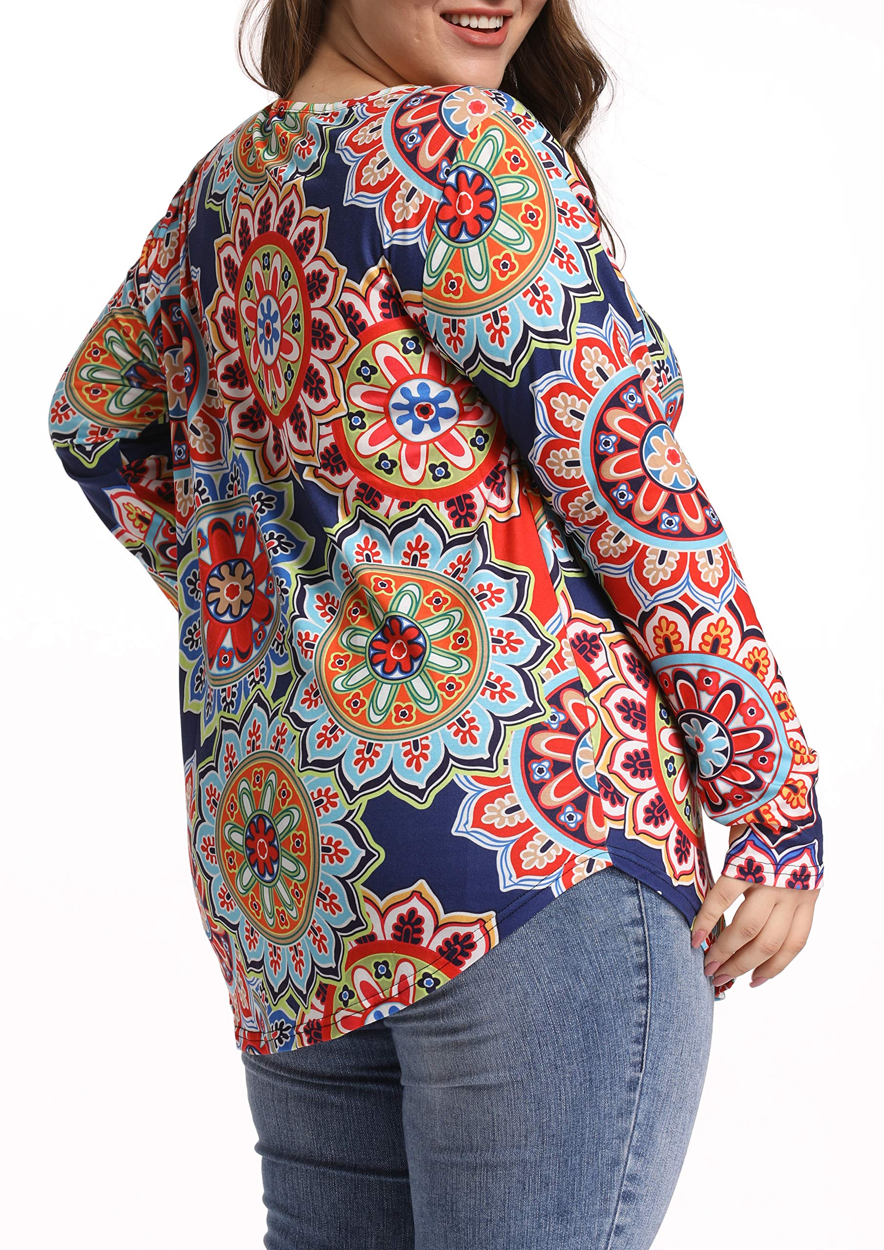 caidyny Sexy V Neck Top Vintage T Shirts Long Sleeve Casual Plus Size Tunic Blouse Shirt
