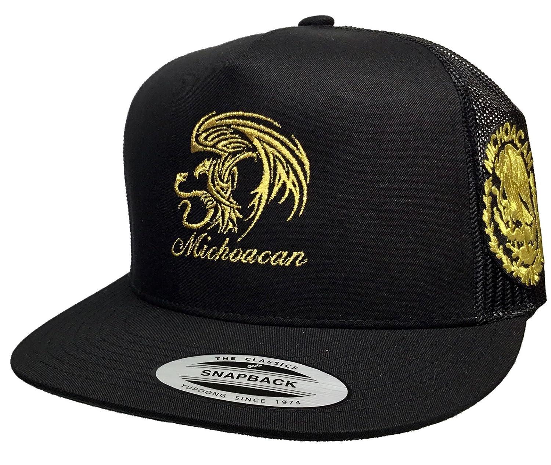 9764f4e8d6f83 Michoacan 2 Logos New Eagle Logo Federal Hat Black Mesh Snapback at Amazon  Men s Clothing store