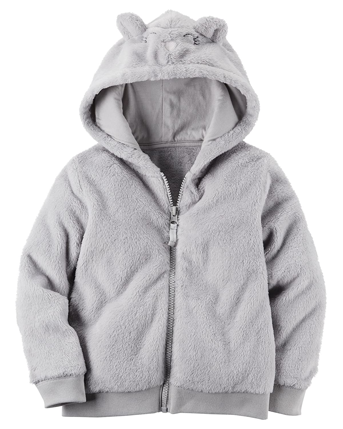 Carters Baby Girls Fuzzy Mouse Hoodie 3 Months Gray