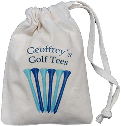 Personalised - Golf Tee Bag - Tiny BLUE Drawstring Cotton Bag - Blue design - SUPPLIED EMPTY - Any name printed!
