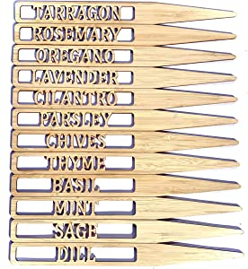 10 Inch Tall Bamboo HERB Markers for Garden - Indoor and Outdoor use - Set of 12 Herb Garden Markers - 12 x 10 Inch Tall Bamboo Stakes to Label You Favourite Kitchen and Garden Herbs