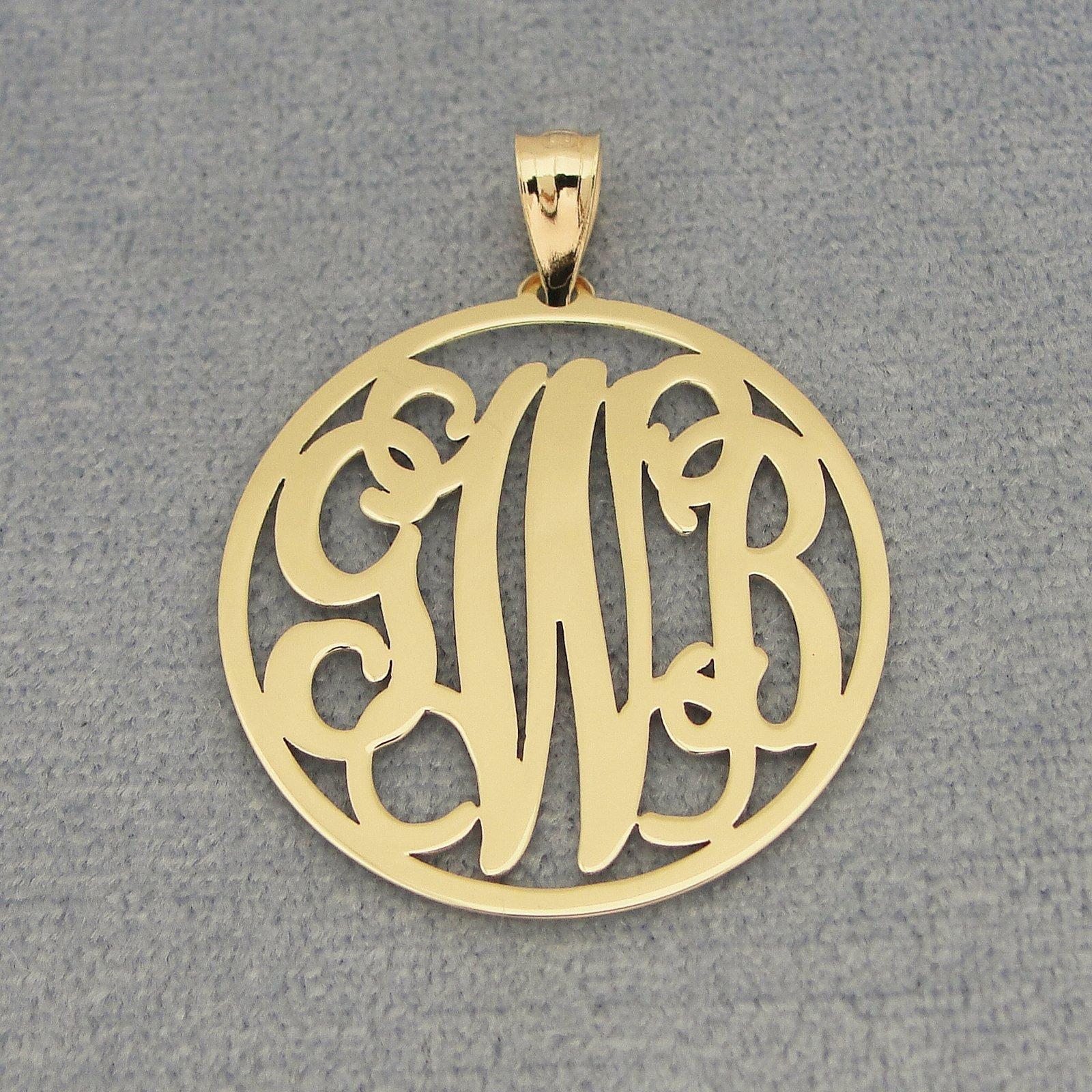 3 Initials Circle Monogram Solid 10k or 14k Gold Pendant 1 inch Diameter GM42