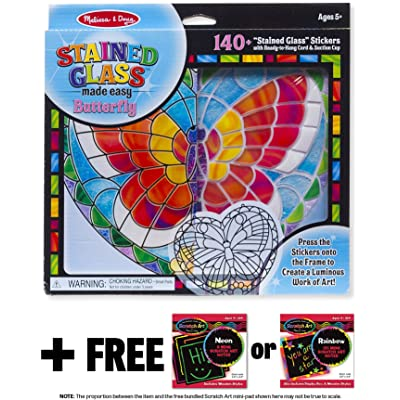 Melissa & Doug Butterfly: Stained Glass Made Easy Series & 1 Scratch Art Mini-Pad Bundle (09295): Toys & Games