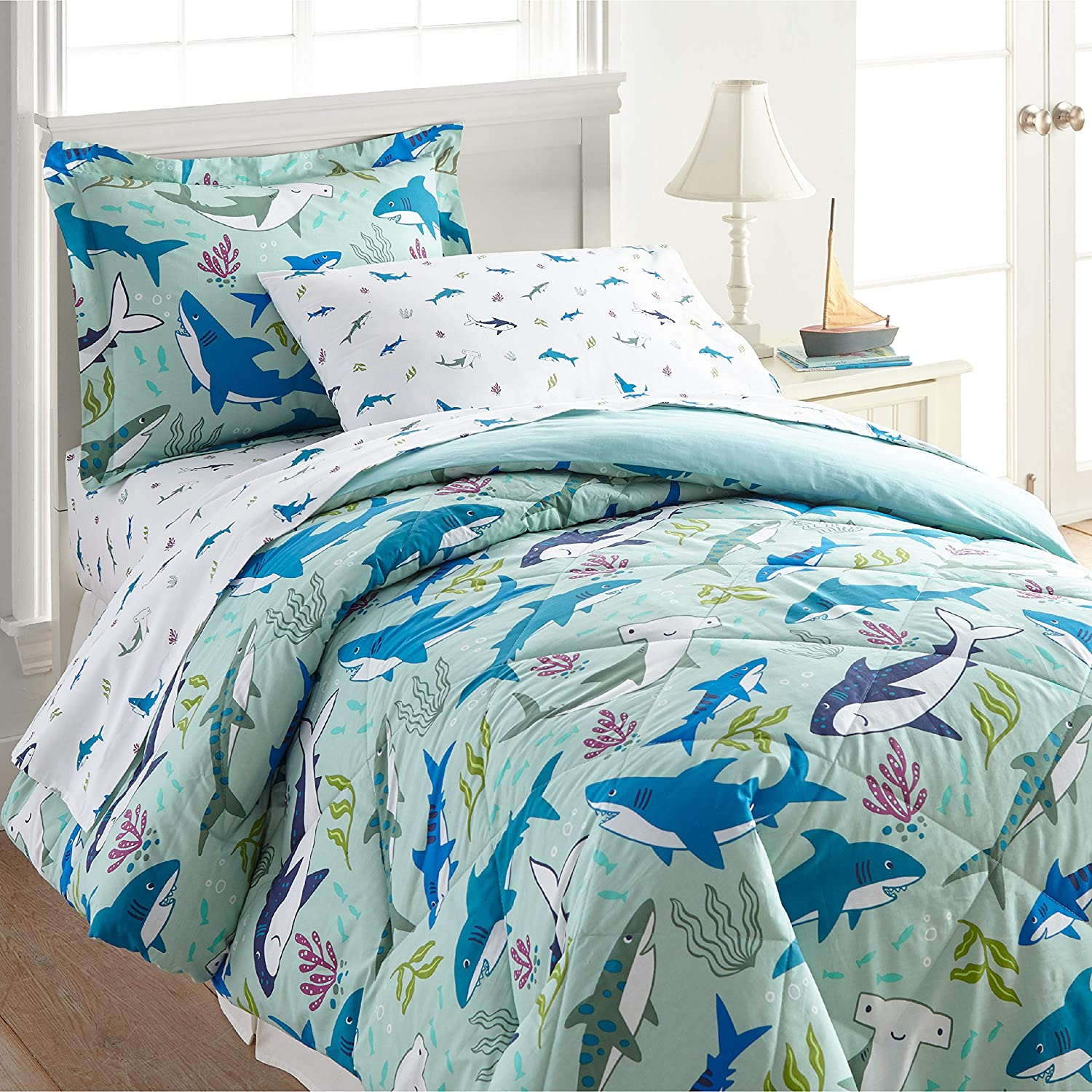 Wildkin 100% Cotton 5 Piece Twin Bed-in-A-Bag, Includes Comforter, Flat Sheet, Fitted Sheet, Pillowcase and Embroidered Sham, Certified Oeko-TEX Standard 100, BPA-Free, Olive Kids (Shark Attack)