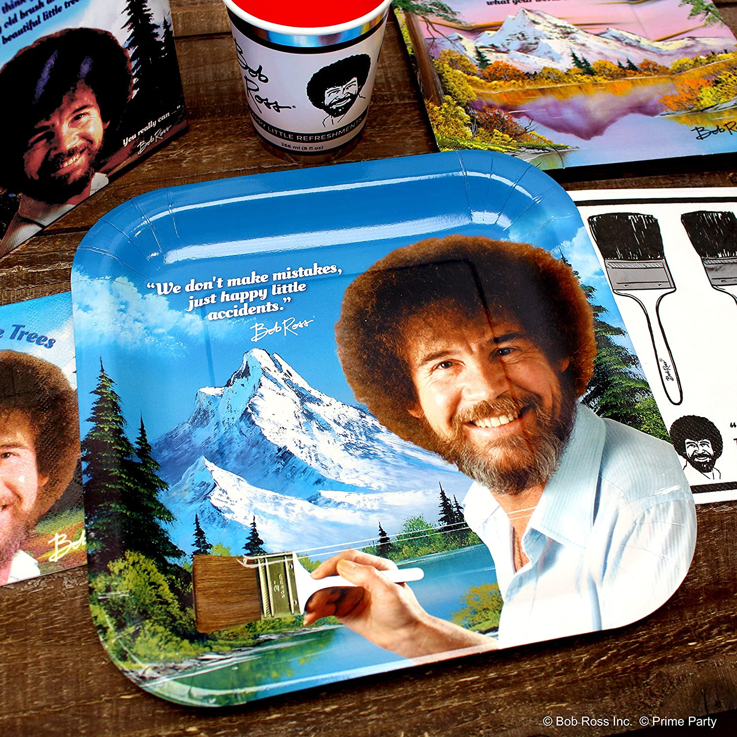 Amazon Com Bob Ross Party Supplies Standard Classic Happy Birthday Decorations Graduation Retirement Art Party 66 Piece Set By Prime Party Toys Games