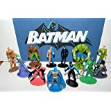 Batman Superhero And Villains Mini Toy Figure Set Of 12 With Catwoman Joker Robin