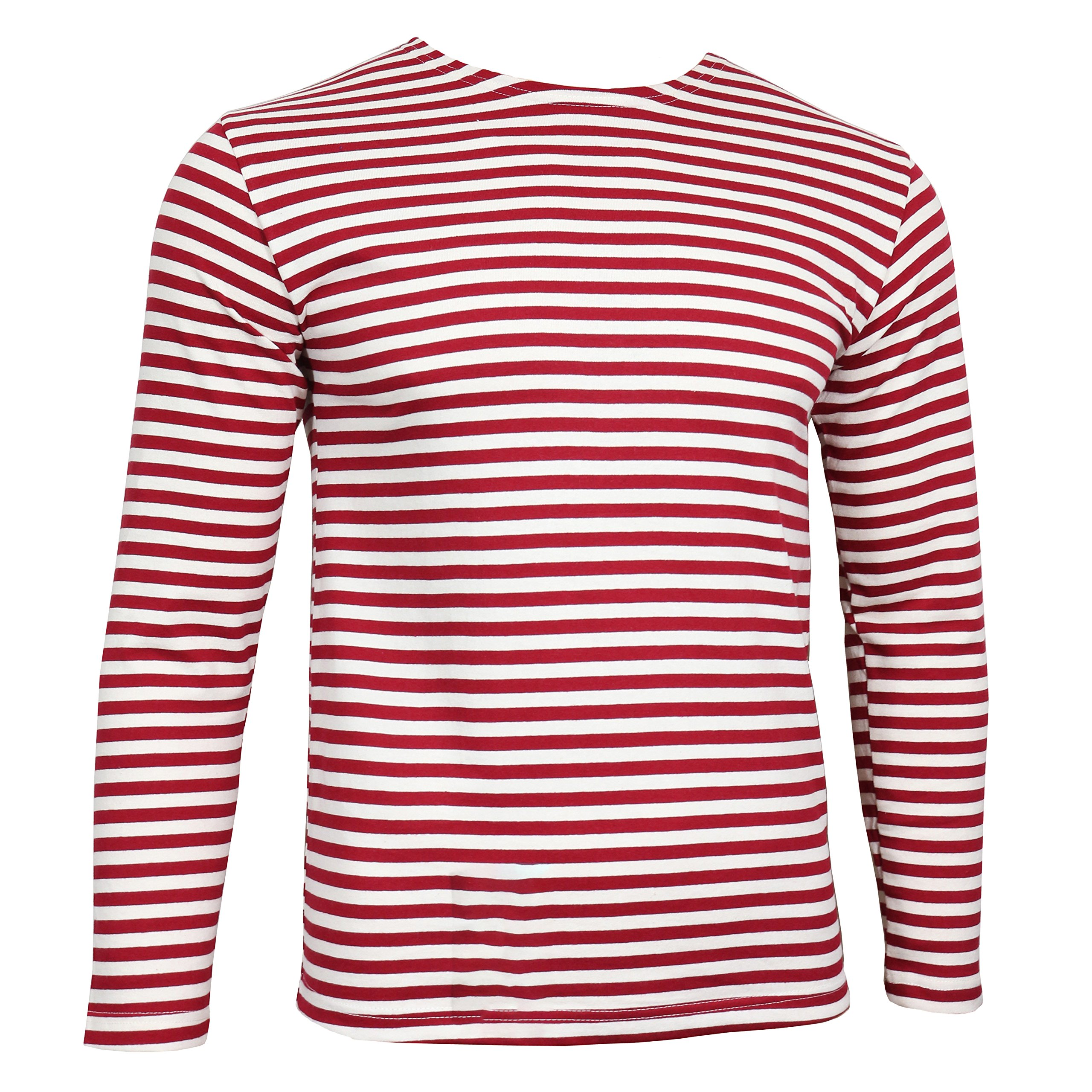 Genuine Russian OMON Special Forces TELNYASHKA - Red Striped MVD Long Sleeved T-Shirt Top (44'' Chest (XL))
