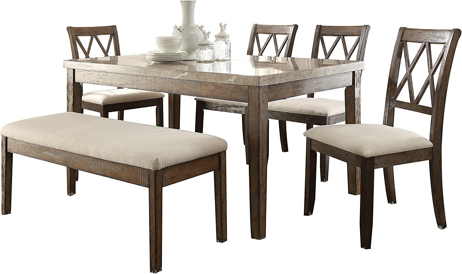Acme Furniture 71715 Claudia Dining Table White Marble Salvage Brown Tables