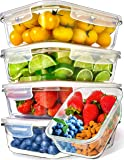 Prep Naturals Glass Meal Prep Containers (5 Pack, 36 Ounce) - Glass Food Storage Containers with Lids - Food Containers…