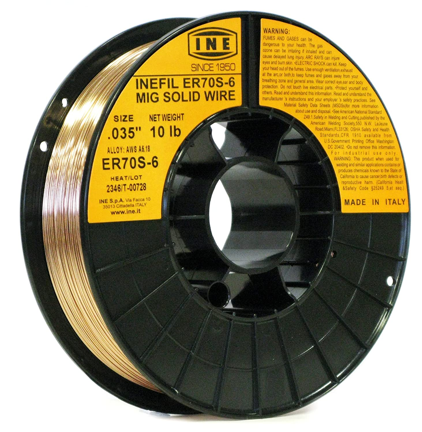 INEFIL ER70S-6 .035-Inch on 10-Pound Spool Carbon Steel Mig Solid Welding Wire INE USA 8024499230252