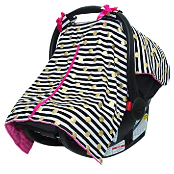Amazon Com Jlika Baby Car Seat Canopy Cover Infant Canopy Cover For Newborns Infants Babies Girls Boys Best Shower Gift For Carseats Black Stripe Gold Dots Baby