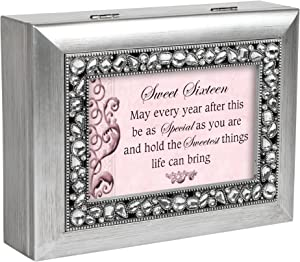 Cottage Garden Sweet Sixteen Brushed Silver Jeweled Inlay Jewelry Music Box Plays You Light Up My Life