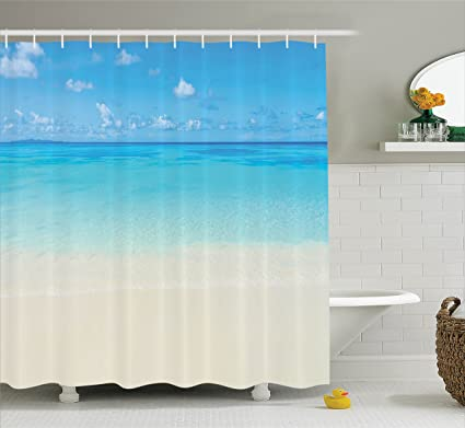 Ambesonne Extra Long Shower Curtain Ocean Decor Paradise Beach In Tropical Caribbean Sea With Fantastic