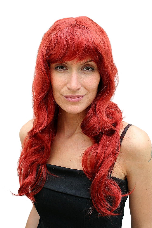 WIG ME UP ® - PW0193-135# - Peluca ROJA, larga, ondulada, tipo Hollywood, diva, mujer fatal.: Amazon.es: Juguetes y juegos