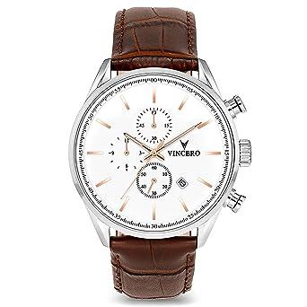 ebd1f88848c Montre bracelet de luxe Vincero Chrono S pour homme - Cadran blanc avec  bracelet en cuir