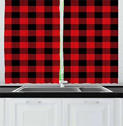 Ambesonne Plaid Kitchen Curtains, Lumberjack Fashion Buffalo Style Checks  Pattern Retro Style With Grid Composition