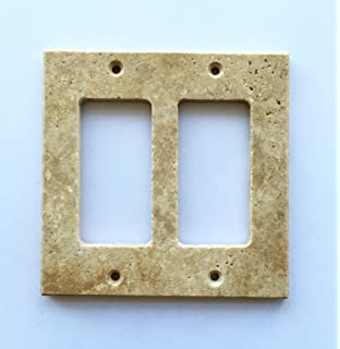 Delicieux Light Walnut Travertine Switch Plate Cover Double Rocker   4.50 X 5.50 IN