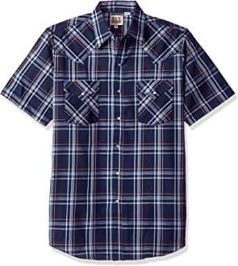 Ely & Walker Mens 15A2707-TQR Short Sleeve Plaid Western Shirt Plaid Short Sleeve Button-Down Shirt