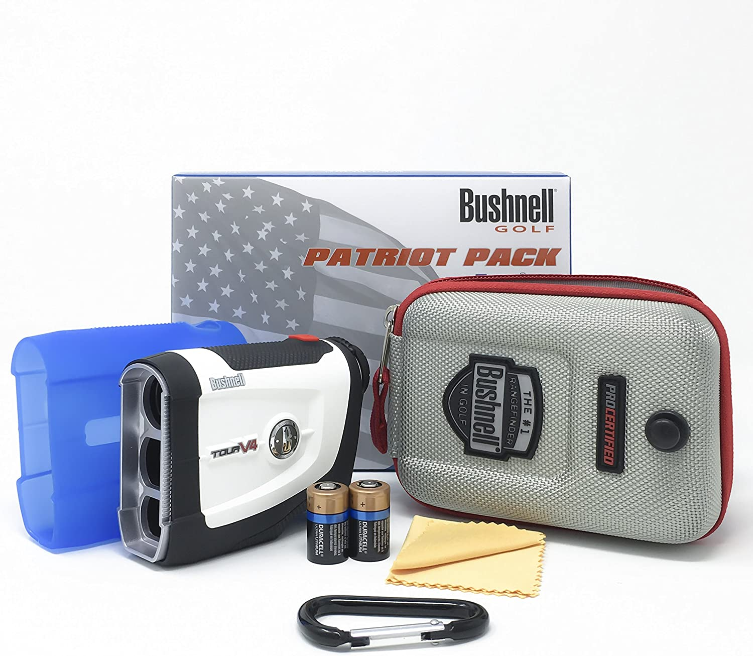 Bushnell Tour V4 Patriot Pack Laser Golf Rangefinder 201660P Bundle with Carrying Case, Carabiner, Lens Cloth, and Two 2 CR2 Batteries