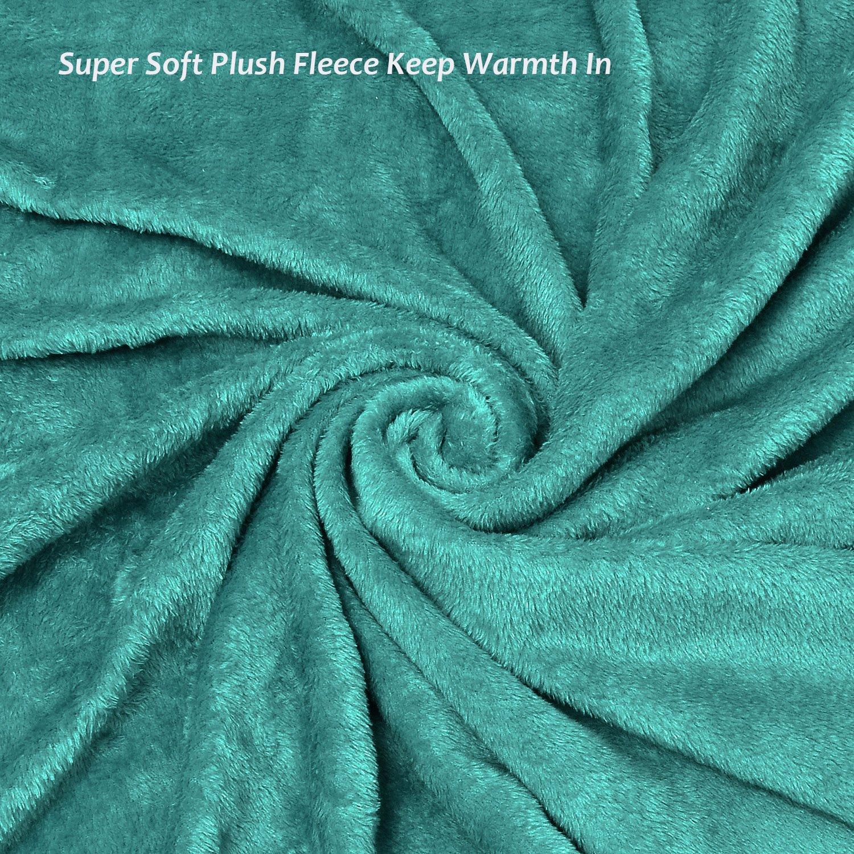 Fleece Blanket with Sleeves & Foot Pockets, Green Micro Plush Fleece Blanket, Large Wrap Throw Blanket, for Adult Women Men 190cm x 135cm (75\