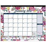 "bloom daily planners 2018 Calendar Year Desk or Wall Calendar (January 2018 through December 2018) - 21"" x 16"" - Vintage Floral"