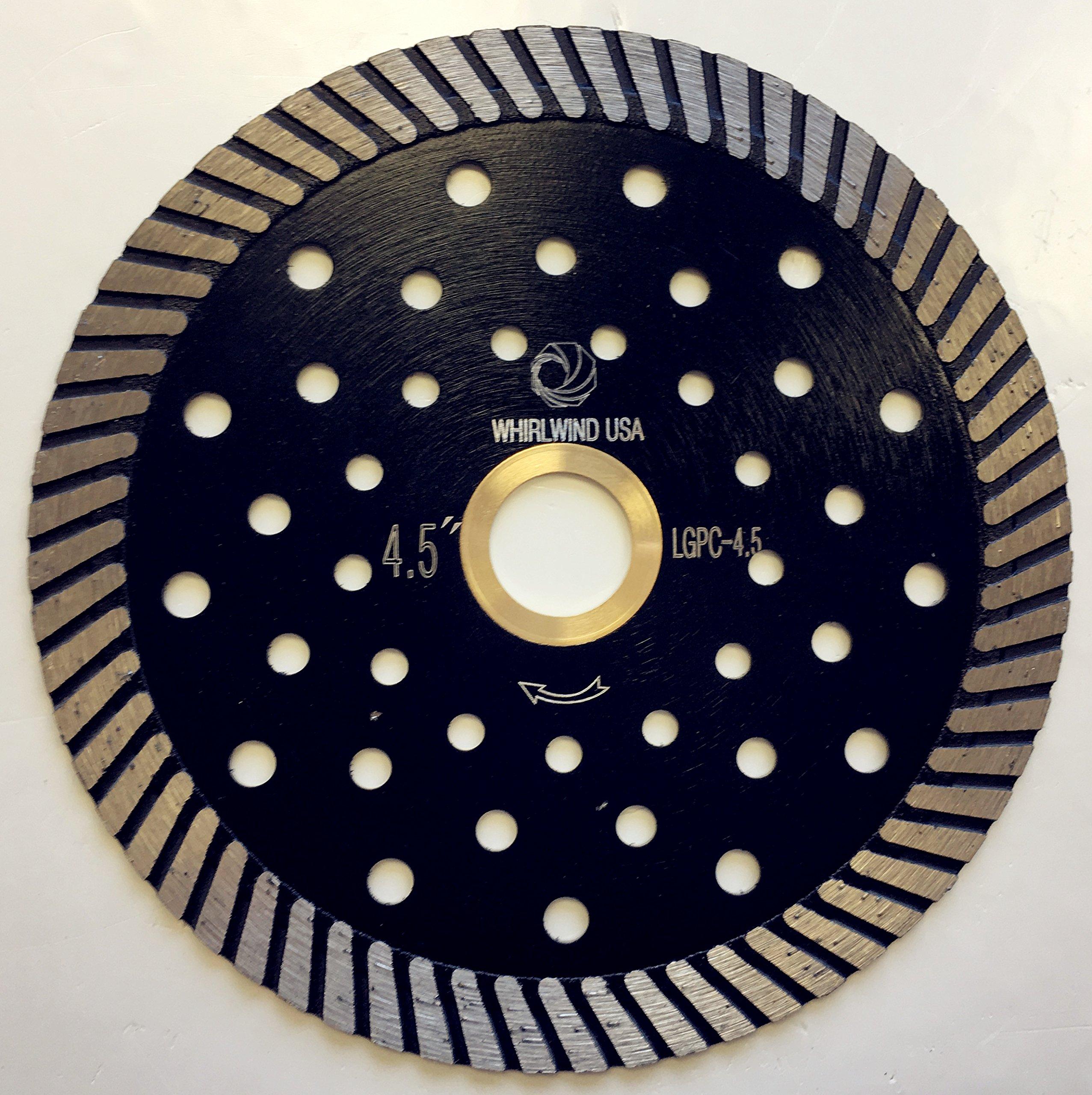 Whirlwind USA LGPC 4.5 in. Stone Cutting Premium Turbo Continuous Rim Diamond Blades for granite (Factory Direct Sale) (4.5'')