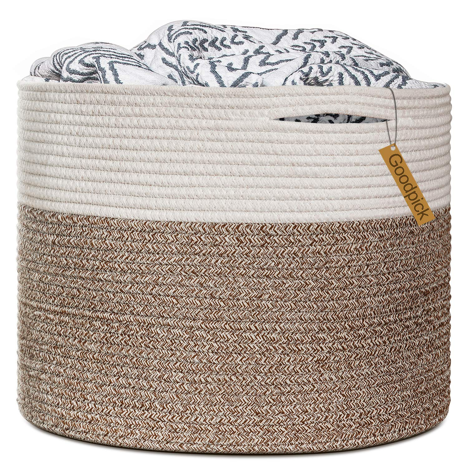 Goodpick Large Cotton Rope Basket 15.8 x15.8 x13.8 -Baby Laundry Basket Woven Blanket Basket Nursery Bin
