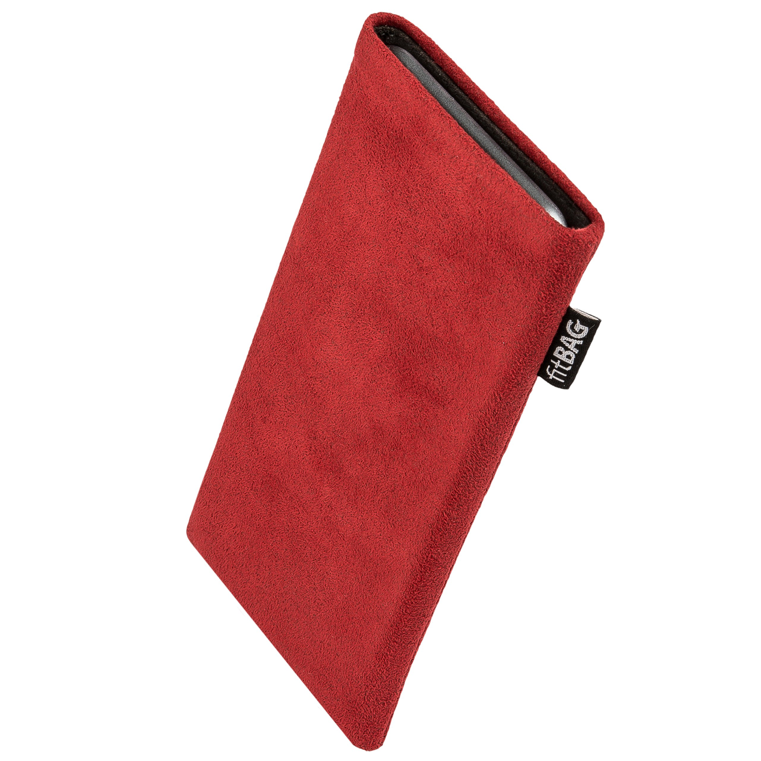 fitBAG Classic Red Custom Tailored Sleeve for OnePlus 7 Pro   Made in Germany   Genuine Alcantara Pouch case Cover with Microfibre Lining for Display Cleaning