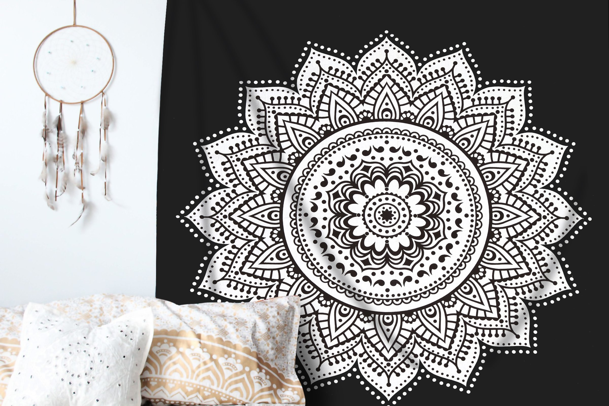 Ombre Mandala Tapestry - Black and White Indian/Hindu Wall Hanging - 100% Cotton - Bohemian Wall Decor by RawyalCrafts